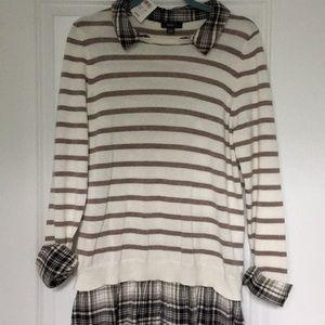 Pretty soft cotton/ acrylic sweater w/faux shirt